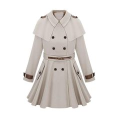 Cape Shoulder Epaulet Beige Trench Coat ❤ liked on Polyvore