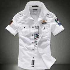 Short sleeve shirts Fashion Airforce uniform military short sleeve shirts men's dress shirt