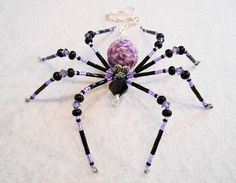 Layla purple and black glass beaded spider goth sun by llanywynns Beaded Crafts, Wire Crafts, Jewelry Crafts, Wire Jewelry, Beaded Jewelry, Jewelery, Handmade Jewelry, Spider Art, Spider Crafts