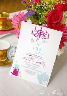 Alice in Wonderland / Mad Hatter Tea Party Invitation