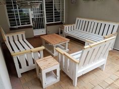 Upcycled wood pallet lounge furniture requires the pallets to be painted if the person wants to copy this idea, the furniture is looking fine as created by an expert.