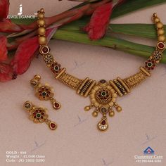Ravishing gold set from our delightful collection. Get in touch with us on Gold Bangles Design, Gold Earrings Designs, Gold Jewellery Design, Necklace Designs, Gold Wedding Jewelry, Bridal Jewelry, Gold Jewelry, Gold Necklace, Necklace Set