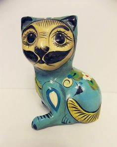 Sermel Tonala Jal Mexico Cat Figurine -Unique from 1960s