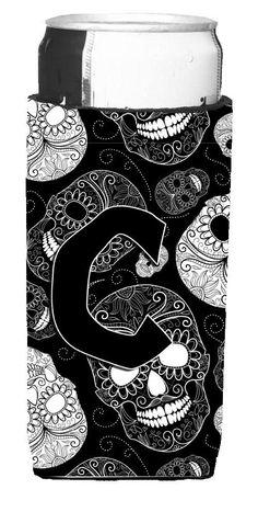 Letter C Day of the Dead Skulls Black Ultra Beverage Insulators for slim cans CJ2008-CMUK