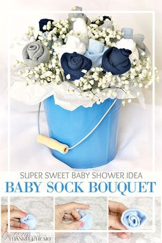 Sweet baby shower decoration made with little socks. easy to make baby sock rosebud bouquet Baby Shower Bouquet, Baby Sock Bouquet, Diaper Bouquet, Baby Shower Flowers, Baby Shower Baskets, Baby Shower Brunch, Simple Baby Shower, Baby Shower Fall, Grateful Prayer