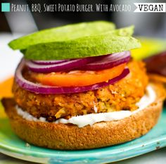 BBQ Peanut Sweet Potato Veggie Burgers with Avocado | Healthy Happy Life