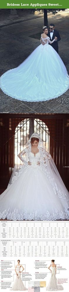 """Bridess Lace Appliques Sweetheart Ball Gown Wedding Dress Long Sleeve White 8. Suitable Occasions Engagement/Pageant/Wedding/Ball/Marriage/Wedding Ceremony/Nuptials/Prom/Homecoming/Ball Gown/Formal/Party/Graduation/Custom made SIZE CHART Please ask your local tailor for assistance with measuring and ordering styles available at Bridess amazon store All measurements shown in inches 1 inch = 2.54 centimeters. Measure without shoes.We accept the CUSTOM MADE order US2: Bust(32 1/2"""")Waist(25..."""
