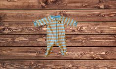 Boys Striped Footed Pajamas (Size: 0-3 Months)