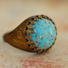 Faux Turquoise Ring Vintage glass on antiqued brass by ElvesGarden, $21.00