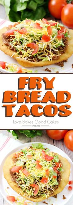Change up your boring dinner routine with this easy recipe for Fry Bread Tacos (aka Navajo Tacos). A quick and simple bread dough is quickly fried and then topped with your favorite taco toppings!: (simple recipes for dinner) Navajo Tacos, Mexican Dishes, Mexican Food Recipes, Taco Bell Recipes, Korean Recipes, Hamburger Recipes, Italian Recipes, Soup Recipes, Fry Bread Tacos