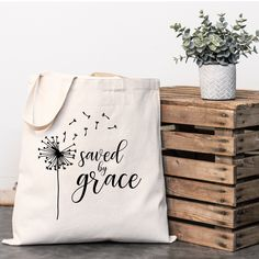 Canvas Tote Bag, Saved By Grace, Christian, Custom Gift Custom Wedding Gifts, Custom Gifts, Christian Gifts, Grace Christian, Custom Tote Bags, Christmas Bags, Cotton Bag, Bag Making, Canvas Tote Bags