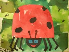 Artolazzi: 1st grade  Two tissue collages green/red.  cut and paste.