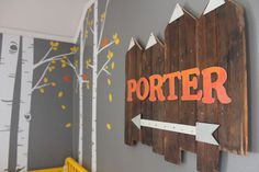 Project Nursery - Personalized Wooden Sign for this Woodland Theme Nursery