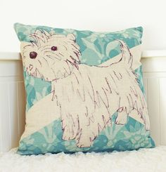 westie linen cushion by quietly eccentric | notonthehighstreet.com