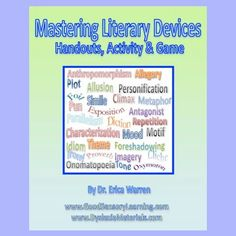 This digital download offers some quick and easy handouts that review the 40 most common Literary Devices. It also helps students distinguish between the subcategories of Literary Elements and Literary Techniques and goes into 16 types of figurative language. A multisensory activity helps students remember each device reviewed. Finally, there is a fun Literary Device game that can be played with two students or two teams. #literacydevices #literaryelements #figurativelanguage
