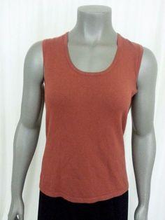 B. Moss Women's knit tank top size S brown sleeveless career casual work #BMoss #TankCami #Casual