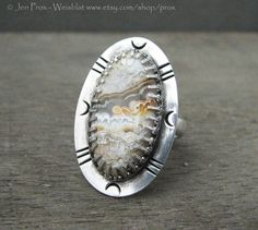Crazy lace agate ring - statement ring - size 8.5 ring - natural stone ring - inique ring