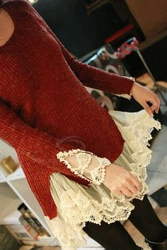 Wholesale Sweet Scoop Neck Solid Color Splicing Lace Design Faux Twinset Long Sleeve Acrylic Fibers Sweater