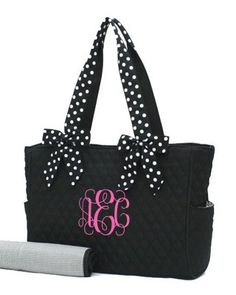 Diaper Bag with Detachable Bows- Black ($27.95) was out of stock but the other bags on the site are cute!!