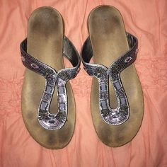 Women's rhinestone sandals Worn several times! Excellent condition and very comfortable Maurices Shoes Sandals