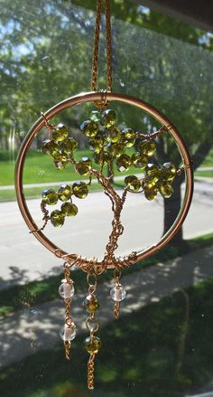 Tree of Life Suncatcher - Olive Crystal Tree on Gold Pendant with dangling glass beads