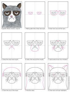 Learn how to draw Grumpy Cat with my step-by-step tutorial. He has pretty distinctive features, like the dark rings around his eyes and his famous frown. Grumpy Cat Cartoon, Grumpy Cat Breed, Grumpy Cat Humor, Cat Memes, Memes Humor, Group Art Projects, Classroom Art Projects, Art Classroom, Cat Drawing