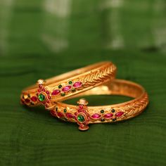 Kriyalakshmi Gold Plated temple jewellery bangles with Charms