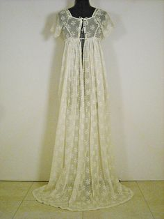 Antique Regency Dress Gown Embroidered India Muslin Early 1800s