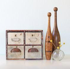 vintage wooden file drawers