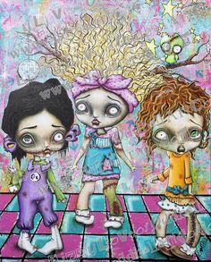 Big Eye Zombie Girl Mixed Media Kawaii Kowaii Art by OddballArtCo