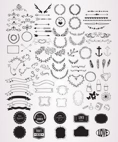100 HandSketched Vector Elements by lunalexx on Creative Market