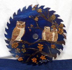 Vintage Folk Art Owl Family Painting on Saw Blade Rustic Primitive Home Decor