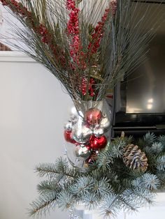 glass balls in a vase for Christmas