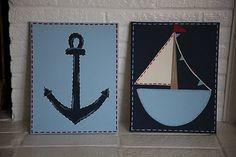 Sailboat and Anchor Print Set. May make replicas for the bathroom.