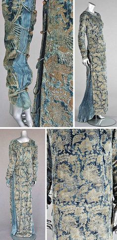 Stencilled velvet gown, Mariano Fortuny, Venice, early 20th century. Blue velvet stencilled in gold with medieval-style patterns. Sides inset with pleated silk, laced with silk cords,  fastened with Murano glass beads