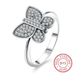 925 Sterling Silver Butterfly Shape Ring