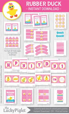 Pink and girly party prints for a Rubber Duck Party. 1st Birthday Parties, Birthday Party Invitations, Shower Invitations, Rubber Duck Birthday, Frozen Dog Treats, Thank You Party, For Your Party, Party Printables, Kit