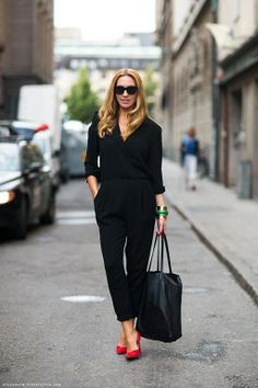 Black Jumpsuits And Suede Pumps. Get Inspired With These Street Style Snaps // #streetstyle