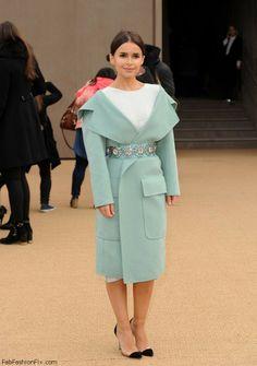 Miroslava Duma in Burberry Prorsum coat