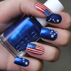 Patriotic Nails Love The Blue With White Stars Nail Envy Independence Day Designs