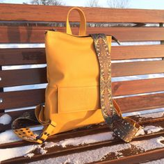 Excited to share the latest addition to my #etsy shop: Toledo mini.  Yellow leather backpack, backpack woman, women's backpack , Valentine's Day Gifts, rucksack yellow.