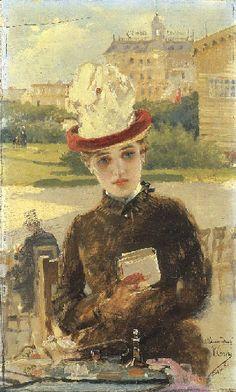 "Vittorio Matteo Corcos (1859-1933)  ""Signora a Dieppe"""