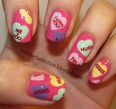 Get Unique Nail Art Ideas and Designs for Valentine's Day. Enjoy the most beautiful nail art ideas for Valentine's Day. Share your nail art ides with us. Nail Art Saint-valentin, Heart Nail Art, Heart Nails, Fancy Nails, Love Nails, Pretty Nails, My Nails, Color Nails, Pink Nails