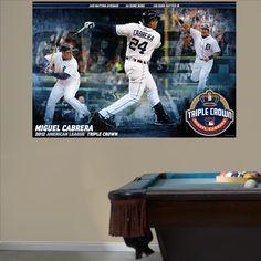 Miguel Cabrera AL Triple Crown Mural | Detroit Tigers Wall Decal | Sports Décor | Baseball Bedroom/Man Cave/Nursery