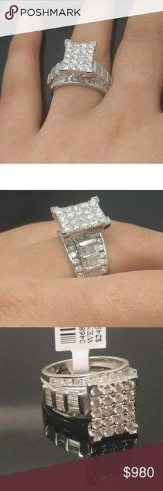 Gorgeous 2 carat 10k white gold diamond ring Gorgeous 2 carat 10k white gold diamond Cinderella ring Jewelry Rings