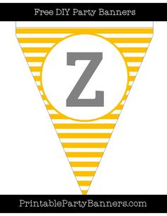 Amber and White Pennant Horizontal Striped Capital Letter Z