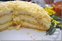 mimosa cake -- torta mimosa. A cake made in Italy every March 8 to celebrate Women's Day.