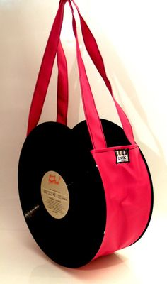 33 rpm vinyl record bag red faux leather, with 2 handles.Original Los Incas on both sides.