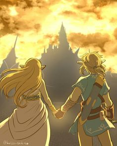 Breath of the Wild ~ Link & Zelda; Facing things together. The Legend Of Zelda, Legend Of Zelda Breath, Zelda Video Games, Twilight Princess, Princess Zelda, Link Zelda, Wind Waker, Breath Of The Wild, Photos