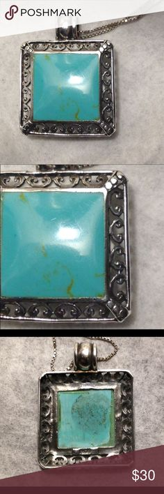 """Turquoise Pendant (only) 1-1/4"""" Square Sterling Silver Setting with Filigree Bezel Holding 3/4"""" Square Cut and Polished Turquoise Stone. Jewelry Necklaces"""